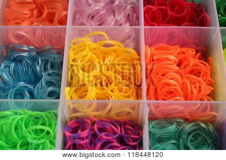 Close up colorful of loom bands