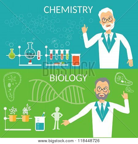 Education Banners Biology And Chemistry Research Scientist Experiment