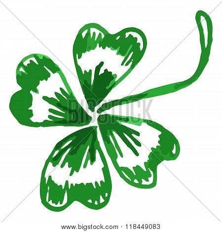 Doodle Green Clover Shamrock Saint Patrick's Day Vector Isolated