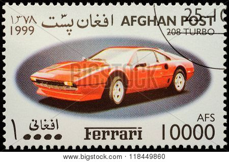 Sport Car Ferrari 208 Turbo On Postage Stamp
