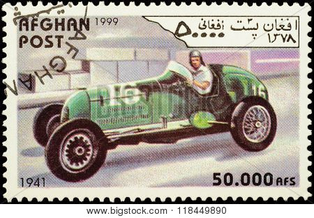 Retro Racing Car (1941) On Postage Stamp