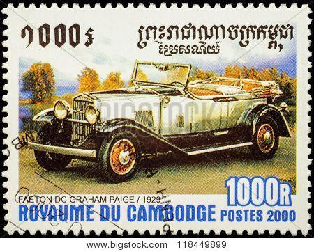 Retro Car Faeton Dc Graham Paige (1929) On Postage Stamp
