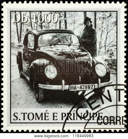 Black Retro Car On Postage Stamp