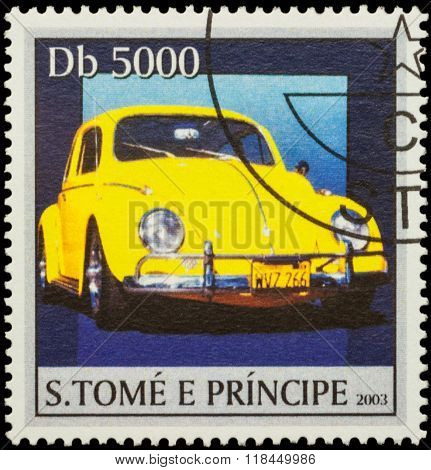 Yellow Retro Car On Postage Stamp