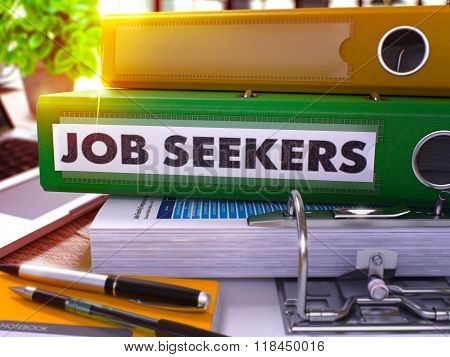 Green Office Folder with Inscription Job Seekers.