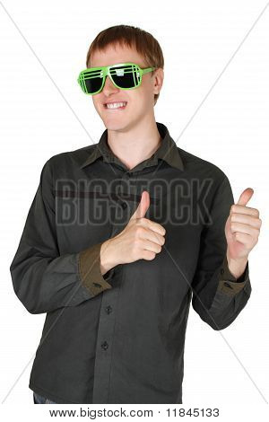Young Man In Modern Club Sunglasses Grinning And Making Thumbs Up Gesture Isolated