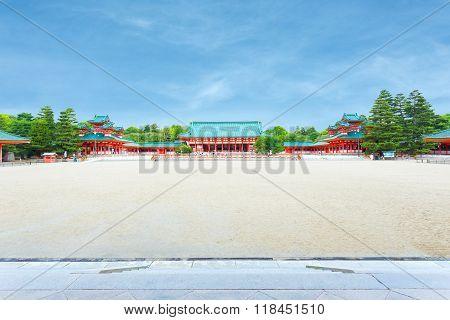 Heian-jingu Shrine Blue Sky Courtyard Taikyokuden