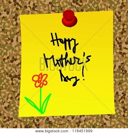 Paper Note With Happy Mother's Day Message