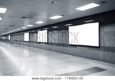 Blank Mock Up Billboard Banner Light Box Template In Subway Station Perspective
