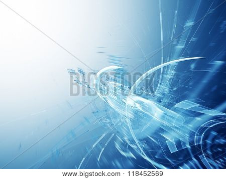 Abstract background design. Blue and white colors. Detailed computer graphics.