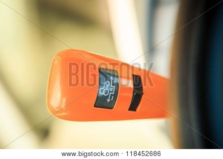 Orange Stick On Instrument Panel In Tractor Cabin