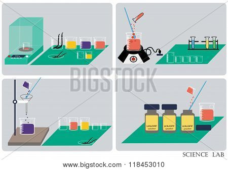 Science lab Vector .Chemical Laboratory, chemical glassware. vector illustration,flat design