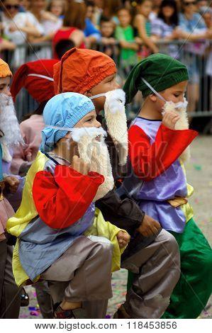 Montenegro, Herceg Novi - 6.06.2015: Boys in suits of gnomes on 9 annual children's carnival in Herceg Novi