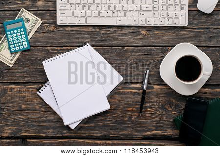 Open Notebook With Blank Pages, Pen, Calculator, Keyboard, Money, Coffee