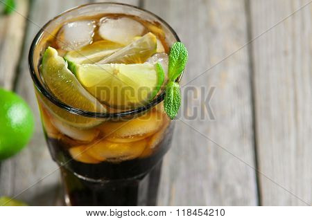 Cuba Libre Drink With Lime, Mint Leaf And Ice