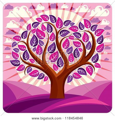 Art Vector Graphic Illustration Of Stylized Branchy Tree And Peaceful Fantastic Landscape With Cloud