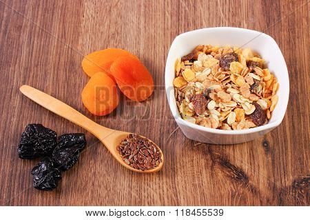 Portion Of Muesli, Linseed And Dried Fruits, Concept Of Healthy Nutrition And Increase Metabolism