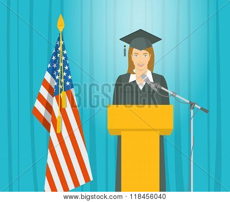 Graduation Ceremony Speech By A Girl Graduate At The Podium
