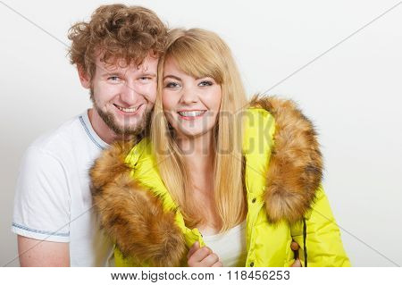 Happy Woman In Lime Jacket And Man. Fall Fashion.
