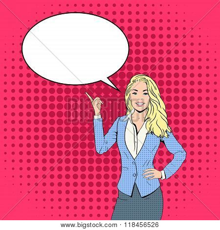 Blonde Business Woman Point Finger To Chat Bubble Pop Art Colorful Retro Style