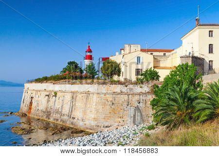 Coastal Landscape Of Ajaccio, Old Citadel With Lighthouse