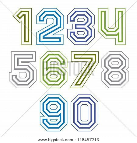 Large Colorful Regular Acute-angled Digits, Bright Vector Straight Numbers Isolated On White Backgro