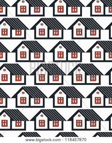 Real Estate Theme Symmetric Vector Seamless Pattern, Abstract Houses Depiction. Property Developer I