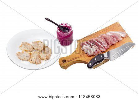Fried Pork, Horseradish Sauce, Sliced Uncooked Pork Belly, Kitchen Knife