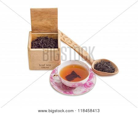 Cup Of Tea, Leaf Tea In Wooden Box And Spoon