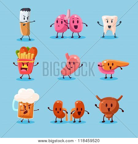 Bad Habits Danger. Vector Illustration Set