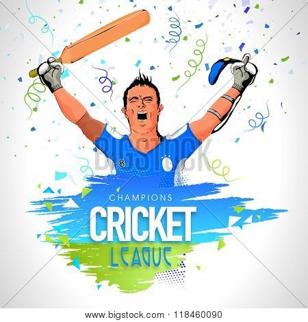 Champions Cricket League concept with illustration of a Batsman in winning pose on grey background.