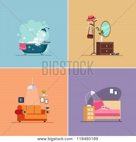 Interior Design Room Types. Vector Illustration Set