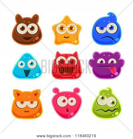 Colourful Jelly Characters with Emotions. Vector Illustration
