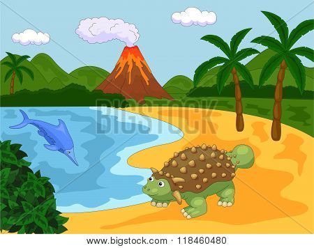 Funny Cute Ichthyosaurus And Ankylosaurus On The Background Of A Prehistoric Nature