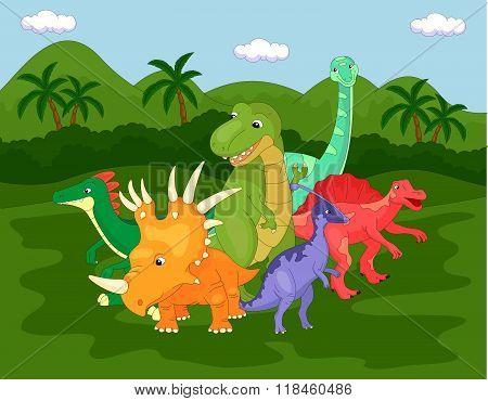 Styracosaurus, Spinosaurus, Tyrannosaur, Stegosaurus And Parasaurolophus