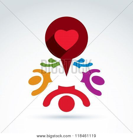 Dialogue on love and health - international forum on medical and cardiology theme. Happy colorful people chat on healthy life idea heart symbol placed in a speech bubble.