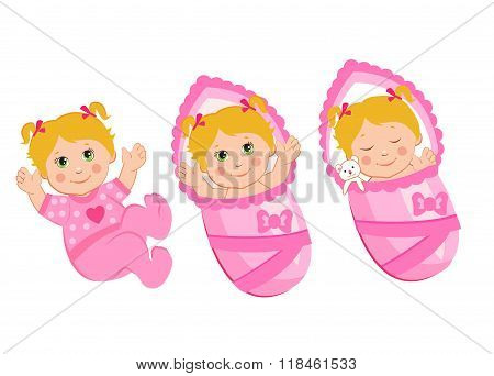 Vector Illustration of Newborn. Newborn Babies Girls Set. Baby Sleep, Smile, Plays. Newborn Babies Sleeping. Babies For Adoption. Babies Dolls. Newborn Babies Eyes. Newborn Girl Care.