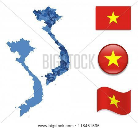 High Detailed Map of Vietnam With Flag Collection