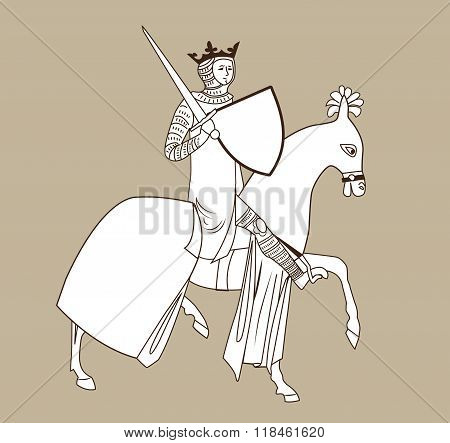 Rider. Rider Medieval. King On Horseback. Vector Rider. The Rider With The Sword. An Armed Soldier. Armed With A Rider. King In The Background. Gold Crown. Heraldic Symbol. Coat Of Arms. Middle Ages.