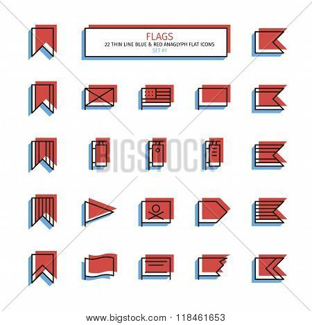 Thin line icon set. Anaglyph 3D red and blue style. Flags, banners and bookmarks icons. Vector.