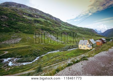 Country houses in village in Norwegian, fjords,landscape ,outdoors,horizontal