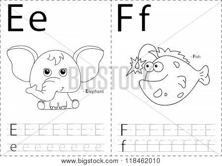 Cartoon Elephant And Fish. Alphabet Tracing Worksheet: Writing A-z And Educational Game For Kids