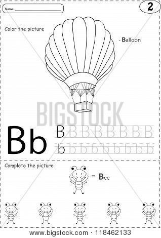Cartoon Balloon And Bee. Alphabet Tracing Worksheet: Writing A-z And Educational Game For Kids