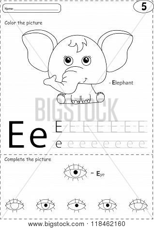 Cartoon Elephant And Eye. Alphabet Tracing Worksheet: Writing A-z And Educational Game For Kids