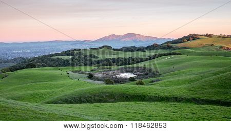 Sunset over Mt Diablo from Rolling Grassy Hills of Briones Regional Park