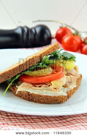 big healthy sandwiches made with whole grain bread, turkey breast