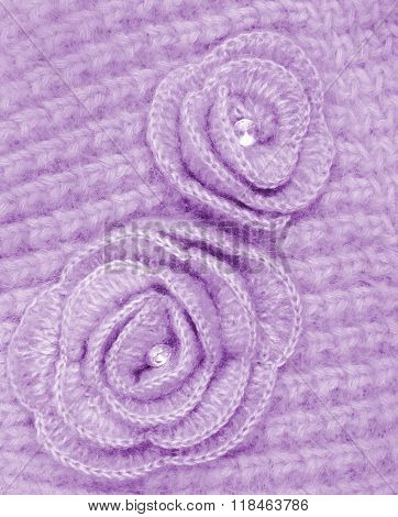 Lilac Wool Flowers On Lilac Wool Knitted As Background