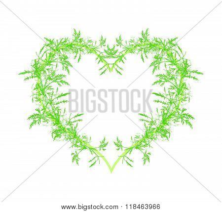 Beautiful Green Leafy Leaves In A Heart Shape