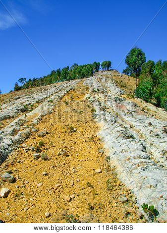 Dry and rocky soil of Isla del Sol