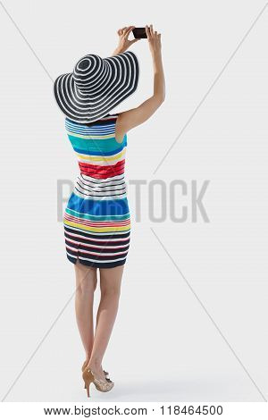 Woman Photographing Mockup, Full Length